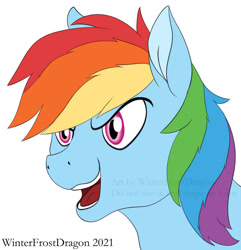 Size: 1024x1061 | Tagged: safe, artist:winterfrostdragon, rainbow dash, pony, female, magenta eyes, mare, multicolored hair, open mouth, rainbow hair, short mane, solo, teeth, tongue out