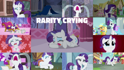 Size: 1280x721 | Tagged: safe, edit, edited screencap, editor:quoterific, screencap, applejack, rainbow dash, rarity, starlight glimmer, twilight sparkle, alicorn, earth pony, pony, unicorn, a canterlot wedding, a dog and pony show, castle mane-ia, fame and misfortune, forever filly, inspiration manifestation, magical mystery cure, sisterhooves social, suited for success, tanks for the memories, the cart before the ponies, the cutie map, the gift of the maud pie, carousel boutique, clothes, crying, cute, dress, eyes closed, female, makeup, male, mare, marshmelodrama, nose in the air, open mouth, raribetes, rarity being rarity, running makeup, sad, smiling, stallion, tears of joy, twilight sparkle (alicorn), volumetric mouth