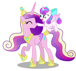 Size: 1600x1502 | Tagged: safe, artist:aleximusprime, princess cadance, princess flurry heart, alicorn, pony, flurry heart's story, boop, bow, cute, cutedance, eyes closed, female, filly, filly flurry heart, flowing mane, flurrybetes, flying, grin, hair bow, happy, hoof shoes, jewelry, mother and child, mother and daughter, mother's day, necklace, noseboop, older, older princess cadance, queen cadance, regalia, simple background, smiling, tail wrap, tiara, transparent background