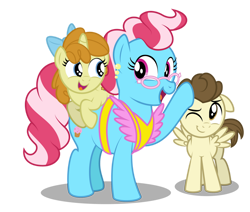 Size: 1600x1355   Tagged: safe, artist:aleximusprime, cup cake, pound cake, pumpkin cake, earth pony, pegasus, unicorn, flurry heart's story, apron, bow, children, clothes, female, glasses, male, mother and child, mother and daughter, mother and son, mother's day, older, older pound cake, older pumpkin cake, patting