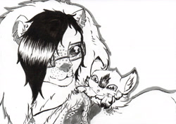 Size: 2445x1718 | Tagged: safe, artist:cindertale, oc, oc only, oc:cinder, big cat, deer, lion, chest fluff, clothes, deer oc, duo, ear fluff, female, glasses, lineart, male, monochrome, solo, traditional art