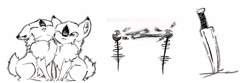 Size: 3543x1174 | Tagged: safe, artist:cindertale, oc, oc only, oc:cinder, deer, chest fluff, cute, deer oc, duo, eyes closed, inktober, inktober 2018, knife, lineart, male, monochrome, multeity, nuzzling, traditional art