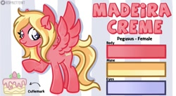 Size: 1209x661 | Tagged: safe, artist:redpalette, oc, oc:madeira creme, pegasus, blonde, cake, cute, cutie mark, female, food, mare, pegasus oc, reference sheet, smiling