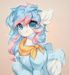 Size: 1184x1280 | Tagged: safe, artist:minekoo2, oc, oc only, bandana, commission, digital art, female, hooves, looking at you, mare, simple background, smiling, smiling at you, solo, wings