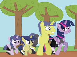 Size: 740x552 | Tagged: safe, artist:harmonyguard, comet tail, twilight sparkle, oc, alicorn, alicorn oc, base used, boxing bra, boxing shorts, boxing skirt, clothes, colt, cometlight, family, female, filly, horn, male, mare, martial arts kids, martial arts kids outfit, martial arts kids outfits, ocbetes, offspring, parent:comet tail, parent:twilight sparkle, parents:cometlight, shipping, shoes, shorts, skirt, sneakers, socks, sports bra, sports shoes, sports shorts, sports skirt, stallion, straight, sweet dreams fuel, tree, twiabetes, twilight sparkle (alicorn), wings