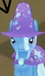 Size: 195x326 | Tagged: safe, trixie, pony, unicorn, app, cape, clothes, cropped, derp, funny, game, gameloft, gem, hat, looking at you, mobile game, trixie's cape, trixie's hat, wat