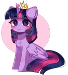 Size: 775x859 | Tagged: safe, artist:moon-rose-rosie, twilight sparkle, alicorn, pony, blushing, chest fluff, commission, commissioner:biohazard, crown, cute, eyebrows, eyebrows visible through hair, female, horn, jewelry, mare, no source available, regalia, simple background, sitting, smiling, solo, twiabetes, twilight sparkle (alicorn), wings, ych result