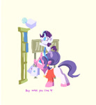 Size: 1243x1348 | Tagged: safe, artist:drtuo4, cookie crumbles, rarity, pony, unicorn, abstract background, blank flank, clothes, eyes closed, female, filly, glowing horn, horn, mother and child, mother and daughter, mother's day, mouth hold, open mouth, paper bag, simple background