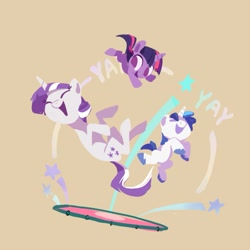 Size: 1129x1129   Tagged: safe, artist:drtuo4, shining armor, twilight sparkle, twilight velvet, pony, unicorn, abstract background, blank flank, brother and sister, colt, cute, eyes closed, female, filly, filly twilight sparkle, fun, jumping, male, mother and child, mother and daughter, mother and son, mother's day, open mouth, shining adorable, siblings, simple background, trampoline, twiabetes, unicorn twilight, velvetbetes, younger