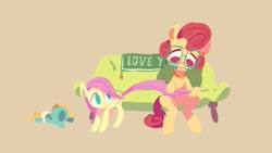 Size: 1400x788   Tagged: safe, artist:drtuo4, fluttershy, posey shy, zephyr breeze, pegasus, pony, abstract background, baby, baby pony, colt, colt zephyr breeze, couch, eyes closed, female, filly, filly fluttershy, glasses, male, mother and child, mother and daughter, mother's day, mouth hold, open mouth, simple background, sitting, younger