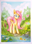 Size: 600x830 | Tagged: safe, artist:asimos, fluttershy, butterfly, dragonfly, fish, insect, pegasus, pony, colored pencil drawing, cute, female, lilypad, mare, marker drawing, scenery, shyabetes, solo, traditional art, water
