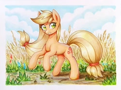 Size: 900x666 | Tagged: safe, artist:asimos, applejack, earth pony, pony, female, hatless, mare, marker drawing, missing accessory, scenery, smiling, solo, traditional art