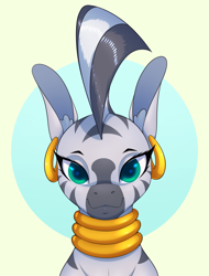 Size: 1600x2100   Tagged: safe, artist:aquaticvibes, zecora, zebra, abstract background, ear piercing, earring, jewelry, looking at you, piercing