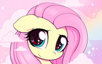 Size: 2480x1548 | Tagged: safe, artist:moozua, edit, fluttershy, pegasus, pony, bust, cloud, cropped, cute, female, floppy ears, heart eyes, looking at you, mare, portrait, shyabetes, smiling, solo, sparkly eyes, starry eyes, three quarter view, weapons-grade cute, wingding eyes
