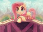 Size: 955x711 | Tagged: safe, artist:sophiesplushies, edit, fluttershy, pony, bridge, cropped, cute, daaaaaaaaaaaw, shyabetes, starry eyes, wingding eyes, wingless