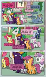 Size: 1920x3169 | Tagged: safe, artist:alexdti, apple bloom, scootaloo, sweetie belle, oc, oc:ale, oc:marco, oc:silverlay, oc:umberto, pegasus, pony, unicorn, comic:quest for friendship, cutie mark crusaders, female, magic, male, mare, stallion