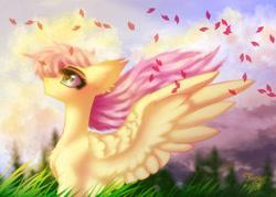 Size: 1400x1000 | Tagged: safe, artist:jsunlight, fluttershy, pegasus, pony, digital art, solo, spring