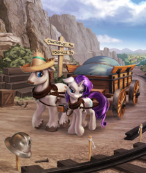 Size: 1692x2006 | Tagged: safe, artist:harwick, hondo flanks, rarity, pony, unicorn, commission, father and child, father and daughter, female, male