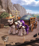 Size: 1692x2006 | Tagged: safe, artist:harwick, hondo flanks, rarity, pony, unicorn, cart, commission, father and child, father and daughter, female, floppy ears, harness, helmet, male, mountain, ponyville, scenery, sign, tack, train tracks, unshorn fetlocks, yoke