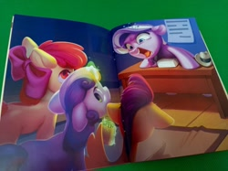 Size: 1280x958 | Tagged: safe, apple bloom, diamond tiara, scootaloo, sweetie belle, earth pony, pegasus, pony, unicorn, ponyville confidential, bully, bullying, cutie mark crusaders, female, filly, hat, magic, newbronycon, notepad, open mouth, table, telekinesis