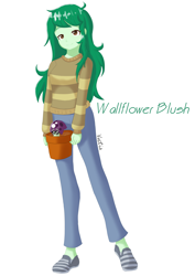 Size: 4961x7016 | Tagged: safe, artist:vectis, wallflower blush, equestria girls, female, plants vs zombies, scaredy-shroom, simple background, solo