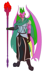 Size: 353x529 | Tagged: safe, artist:lullabyjak, spike, dragon, anthro, dungeons and dragons, garbuncle, ogres and oubliettes, solo, staff, wizard