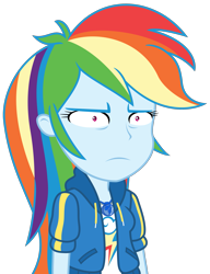 Size: 2169x2828 | Tagged: safe, artist:sketchmcreations, rainbow dash, dashing through the mall, equestria girls, equestria girls series, holidays unwrapped, spoiler:eqg series (season 2), clothes, faic, female, frown, geode of super speed, hoodie, magical geodes, narrowed eyes, rainbow dash is best facemaker, rainbow dash is not amused, shrunken pupils, simple background, transparent background, unamused, vector, wtf, wtf face