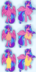 Size: 3565x7202   Tagged: safe, artist:chelseawest, part of a set, oc, oc only, oc:melody aurora, alicorn, alicorn oc, belly button, body pillow, body pillow design, clothes, cute, dress, female, heart eyes, horn, linea nigra, lingerie, looking at you, lying, lying down, multiple pregnancy, ocbetes, offspring, older, parent:flash sentry, parent:twilight sparkle, parents:flashlight, part of a series, pregnant, solo, wingding eyes, wings