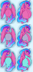 Size: 3352x7200 | Tagged: safe, artist:chelseawest, part of a set, oc, oc only, oc:melody aurora, alicorn, alicorn oc, belly button, body pillow, body pillow design, clothes, cute, dress, female, flowing hair, flowing mane, flowing tail, heart eyes, horn, hyper, hyper belly, hyper pregnancy, impossibly large belly, linea nigra, lingerie, looking at you, lying, lying down, multiple pregnancy, ocbetes, offspring, older, parent:flash sentry, parent:twilight sparkle, parents:flashlight, part of a series, pregnant, solo, wingding eyes, wings