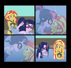 Size: 1280x1223 | Tagged: safe, artist:akira-devilman666, sci-twi, sunset shimmer, twilight sparkle, equestria girls, bikini, breasts, clothes, comic, female, kissing, lesbian, looking at each other, one-piece swimsuit, scitwishimmer, shipping, sunsetsparkle, surprise kiss, swimsuit, underwater, wet hair