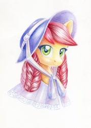 Size: 859x1200 | Tagged: safe, artist:maytee, roseluck, earth pony, pony, alternate hairstyle, bonnet, bust, clothes, colored pencil drawing, hat, portrait, simple background, solo, traditional art, white background