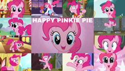 Size: 1280x721 | Tagged: safe, edit, edited screencap, editor:quoterific, screencap, pinkie pie, earth pony, pony, a friend in deed, applebuck season, bats!, discordant harmony, horse play, make new friends but keep discord, pinkie apple pie, pinkie pride, ppov, sweet and elite, the last laugh, the mane attraction, the ticket master, balloon, breaking the fourth wall, cute, diapinkes, female, grin, looking at you, mare, night, party cannon, pinkie being pinkie, smiling, smiling at you, solo, sugarcube corner, twilight's castle, wide eyes