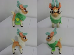 Size: 1597x1199 | Tagged: safe, artist:little-broy-peep, cashmere (tfh), deer, reindeer, them's fightin' herds, clothes, glasses, irl, photo, plushie, scarf, solo