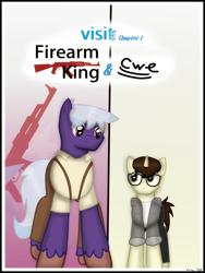 Size: 1750x2333 | Tagged: safe, artist:99999999000, oc, oc only, oc:cwe, oc:firearm king, earth pony, pony, unicorn, comic:visit, ak-47, assault rifle, clothes, comic, gun, male, rifle, weapon