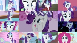 Size: 1280x721 | Tagged: safe, edit, edited screencap, editor:quoterific, screencap, rarity, sweetie belle, pony, unicorn, bridle gossip, castle mane-ia, forever filly, friendship is magic, green isn't your color, made in manehattan, rarity investigates, sisterhooves social, sparkle's seven, sweet and elite, the cart before the ponies, the crystal empire, the saddle row review, carousel boutique, cute, duo, duo female, eyes closed, female, filly, grin, lip bite, looking up, magic, mare, newspaper, open mouth, raribetes, smiling, solo, sweetie belle is not amused, telekinesis, unamused