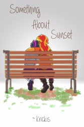 Size: 2400x3600 | Tagged: safe, artist:applejackofalltrades, sci-twi, sunset shimmer, twilight sparkle, fanfic:something about sunset, bench, fanfic, fanfic art, fanfic cover, female, from behind, lesbian, scitwishimmer, shipping, simple background, sunsetsparkle, text, white background