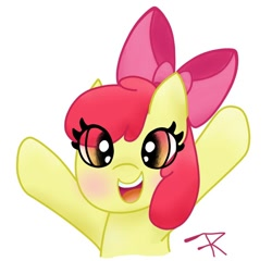 Size: 800x768 | Tagged: safe, artist:flerrender, apple bloom, cute, female, filly, smiling, solo