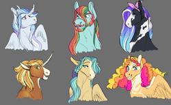 Size: 4514x2772 | Tagged: safe, artist:felinenostalgic, oc, oc only, oc:buck wild, oc:celeste, oc:citrus cirrus, oc:seaside getaway, oc:smooth cider, oc:sonder soliloquy, alicorn, earth pony, pegasus, pony, unicorn, beard, bust, facial hair, female, freckles, gray background, male, mare, multicolored hair, next generation, offspring, parent:applejack, parent:big macintosh, parent:dumbbell, parent:fluttershy, parent:pinkie pie, parent:prince blueblood, parent:rainbow dash, parent:rarity, parent:soarin', parent:sunburst, parent:trouble shoes, parent:twilight sparkle, parents:appleburst, parents:blueshy, parents:dumbpie, parents:rainbowmac, parents:rarishoes, parents:soarlight, rainbow hair, simple background, stallion