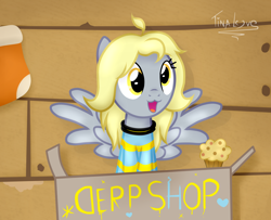 Size: 1600x1300 | Tagged: safe, artist:tina-de-love, derpy hooves, pegasus, pony, temmie, clothes, cosplay, costume, crossover, food, muffin, tem shop, undertale