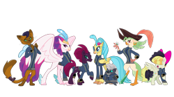Size: 5360x3008 | Tagged: safe, artist:andoanimalia, artist:dashiesparkle, artist:kol98, artist:ponygamer2020, artist:tentapone, artist:walrusinc, capper dapperpaws, captain celaeno, fizzlepop berrytwist, grubber, princess skystar, queen novo, songbird serenade, tempest shadow, abyssinian, bird, cat, classical hippogriff, hedgehog, hippogriff, parrot, parrot pirates, pegasus, pony, unicorn, anthro, fallout equestria, my little pony: the movie, absurd resolution, amputee, beautiful, bow, broken horn, clothes, coat, crown, cute, cutie mark, eye scar, fallout, female, group, grubberbetes, hair bow, hat, horn, jewelry, jumpsuit, lidded eyes, looking at you, majestic, male, mare, movie accurate, necklace, peg leg, pipboy, pirate, pirate hat, pretty pretty tempest, prosthetic leg, prosthetic limb, prosthetics, raised eyebrow, raised hoof, regalia, ring, scar, show accurate, sia (singer), simple background, smiling, smiling at you, tail, teeth, tempestbetes, transparent background, vault suit, vector, wings