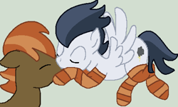 Size: 466x279 | Tagged: safe, artist:jadethepegasus, artist:loppiepiepie, button mash, rumble, earth pony, pegasus, pony, base used, clothes, eyes closed, flying, gay, gray background, kissing, male, older, older button mash, older rumble, raised hoof, raised leg, rumblemash, shipping, simple background, socks, striped socks