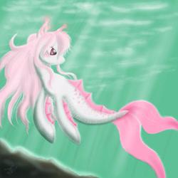 Size: 2048x2048 | Tagged: safe, artist:megumi-arakaki, oc, oc only, merpony, crepuscular rays, digital art, female, fins, fish tail, flowing mane, ocean, solo, sunlight, swimming, tail, underwater, water