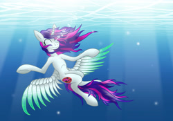 Size: 2929x2048 | Tagged: safe, artist:discorsaurus, oc, oc only, alicorn, pony, alicorn oc, bubble, crepuscular rays, eyes closed, female, high res, horn, mare, ocean, smiling, solo, sunlight, underwater, water, wings