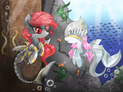 Size: 2048x1536 | Tagged: safe, artist:chaosphantom444, oc, oc only, fish, seapony (g4), armor, bubble, crepuscular rays, fish tail, looking at each other, ocean, red eyes, seaweed, signature, smiling, spear, sunlight, tail, underwater, water, weapon