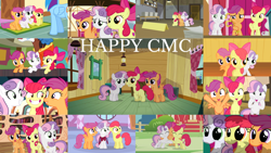 Size: 1280x720 | Tagged: safe, edit, edited screencap, editor:quoterific, screencap, apple bloom, rainbow dash, scootaloo, sweetie belle, earth pony, pegasus, pony, unicorn, appleoosa's most wanted, crusaders of the lost mark, growing up is hard to do, hearts and hooves day (episode), on your marks, one bad apple, ponyville confidential, somepony to watch over me, stare master, the cutie mark chronicles, the last crusade, the show stoppers, twilight time, ^^, adorabloom, apple bloom's bow, bow, carousel boutique, clubhouse, crusaders clubhouse, cute, cutealoo, cutie mark crusaders, diasweetes, eyes closed, female, filly, friendship express, golden oaks library, grin, hair bow, hug, male, mare, older, older apple bloom, older cmc, older scootaloo, older sweetie belle, open mouth, ponyville schoolhouse, smiling, stallion, sugarcube corner