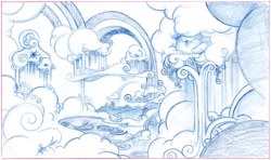Size: 1979x1170 | Tagged: safe, artist:davedunnet, cloudsdale, concept art, monochrome, official art, pencil drawing, sketch, traditional art
