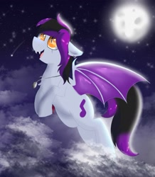 Size: 1337x1535 | Tagged: safe, artist:dicemarensfw, oc, oc:tune chaser, bat pony, pony, adorable face, beautiful, cloud, commission, cute, digital, dog tags, ear piercing, earring, fangs, flying, jewelry, moon, moonlight, night, photo, piercing, raffle, raffle winner, scar, shading, shooting star, solo, spread wings, stars, wings