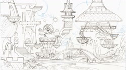 Size: 2048x1140 | Tagged: safe, artist:davedunnet, bridge, concept art, monochrome, official art, pencil drawing, sketch, traditional art