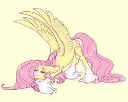 Size: 1250x1000 | Tagged: safe, artist:snowberry, fluttershy, pegasus, pony, alternate design, behaving like a cat, blaze (coat marking), coat markings, cute, eyes closed, face down ass up, facial markings, female, fluffy, mare, pale belly, shyabetes, simple background, snip (coat marking), socks (coat markings), solo, spread wings, stretching, underhoof, unshorn fetlocks, wings, yellow background
