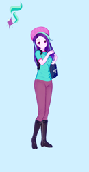 Size: 674x1300 | Tagged: safe, alternate version, artist:脉脉子, starlight glimmer, equestria girls, bag, beanie, blue background, boots, clothes, female, hat, pants, shoes, simple background, smiling, solo